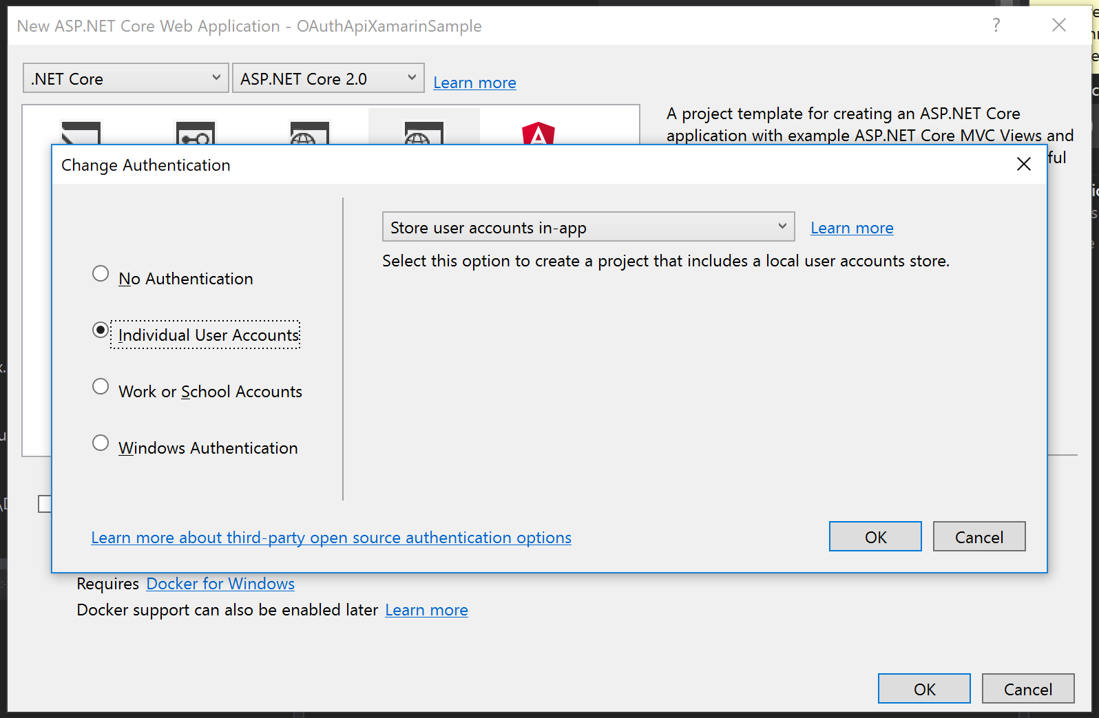 The Change Authentication dialog