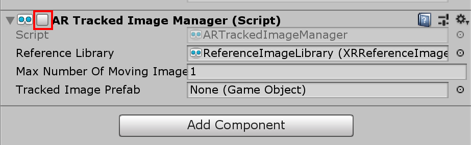 Disabled AR Tracked Image Manager component in the Inspector of the Unity editor.